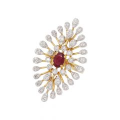 Blossom Floral Design Studded With Ruby Diamond Ring-HLR854-8045-8904-001