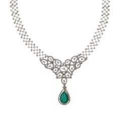 Sparkling Pear Drop Studded With Synthetic Detachable Stone Queens Design Diamond Necklace-HNK584-8045-7407-001