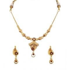 Glossy Filigree Finish Floral Enamel With Colour Stone Studded Gold Necklace Set - HRJ856
