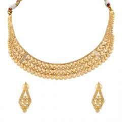 Glossy Embossed Floral Gold Necklace Set - HRJ953