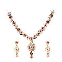 Elegant Cluster Pearl Beads Red Stone Studded Drop Gold Necklace Set-HS-153262