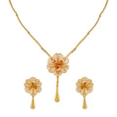 Glossy Finish Diamond Cut Filigree Floral Drop Gold Necklace Set-HS-213932