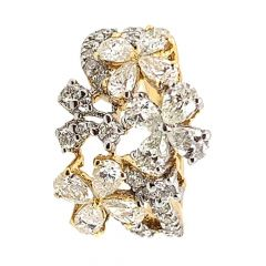 Sparkling Marquise Cut Floral Design Diamond Ring