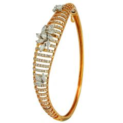 Marquise With Pear Cut Diamond Twisted Rose Gold Kada - ib37076