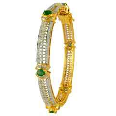 Green Gemstone With Buguette and Round Brilliant Diamond Bangles - ic31841