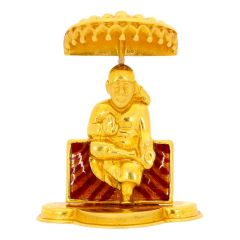 Glossy Finish Enamel Sitting Sai Baba Gold Artifacts