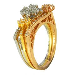 Three Tone Floral Diamond Ring - ijrcx02690xx