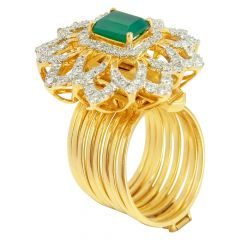 Emerald Cut Gemstone With Diamond Cocktail Ring - IR92252RCB