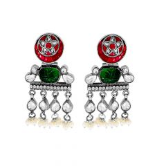 Trendy Tribal Gemstone Dangler Earrings