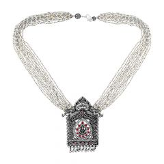 Ceremonial Oxidize Temple Gemstone Silver Necklace