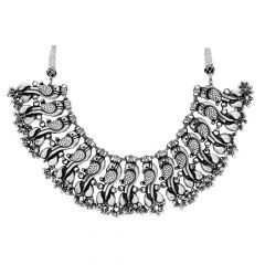 Stunning Oxidize Peacock Paisley Silver Necklace