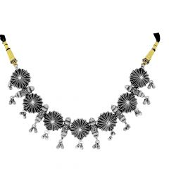 Blossom Floral Textured Silver Necklace