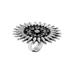 Antique Cocktail Adjustable Silver Ring