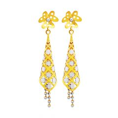 Trendy Conical Cutout Floral Gold Earrings