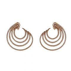 Pave Set Curved Layer Diamond  Earring - JD100