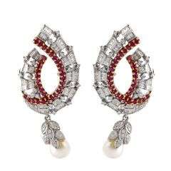 Elegant Ruby With Drop Pearl Rhodium Diamond Clip Earring - JD110