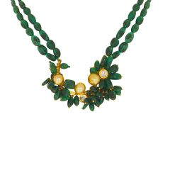 Trendy Natural Emerald Pearl Leaf Gemstone Gold Necklace