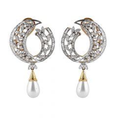 Sparkling Channel Prong Set Baguette With Round Brilliant Diamond  Drop Pearl Earring - JD50