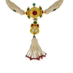 Traditional Close Set Natural Pearl Emerald Ruby Chocker Gold Necklace