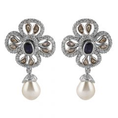 Glossy Finish Cluster Round And Rose Cut Diamond With Blue Sapphire Drop Pearl Floral Rhodium Earring - JD59