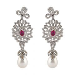 Dazzling Round Brilliant And Channel Set Baguette With Synthetic Ruby Drop Pearl Chandlier Rhodium Diamond Earring - JD63