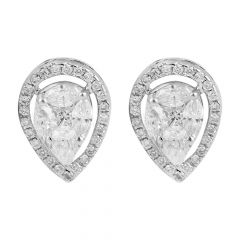 Dazzling Invisible Set Marquise Princess And Pear With Round Brilliant  Drop Diamond Rhodium Earring - JD70