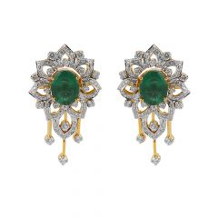 Dazzling Diamond With Synthetic Emerald Motif Floral Earring - JD7