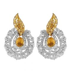 Dazzling Yellow Sapphire With Baguette And Round Brilliant Diamond  Earring - JD85