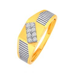 Designer Studded Diamond Mens Ring With Rhodium Polish