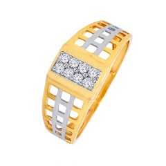 Net Design Band With Centre Studded Diamond Mens Ring With Rhodium Polish