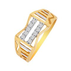 Zigzag Lines Mens Diamond Ring With Rhodium Polish