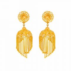Glossy Finish Filigree Floral Multi Lines Drop Design Gold Jhumka Earrings
