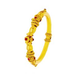 Ceremonial Gemstone Openable Silver Base Gold Plated Bangle