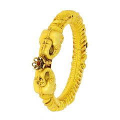 Ceremonial Elephant Face Gemstone Openable Silver Base Gold Plated Kada Bracelet