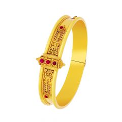 Classical Embossed Gemstone Openable Silver Base Gold Plated Bangle Bracelet