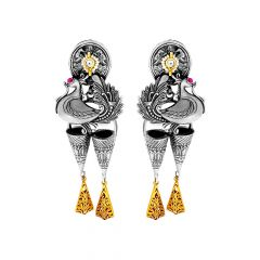 Trendy Engraved Peacock Dangler Silver Earrings