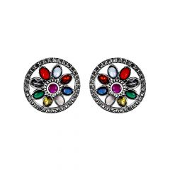 Classical Navratna Gemstone Stud Earrings