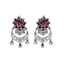 Classy Floral Gemstone Chandbali Silver Earrings