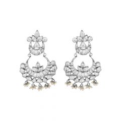 Classical Chandbali Gemstone Silver Earrings