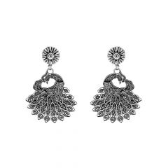 Stylish Oxidize Peacock Feather Silver Earrings