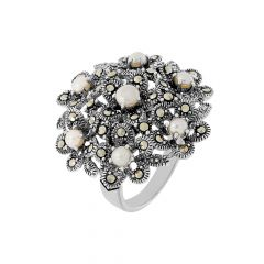 Blooming Floral Gemstone Silver Ring