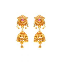 Traditional Textured Gemstone Gold Jhumka