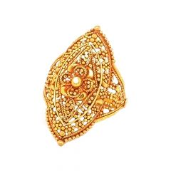 Ceremonial Embossed Bead Floral Gold Ring