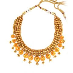 Traditional Embossed Textured Gold Necklace