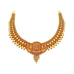 Classical Embossed Bead Gold Necklace