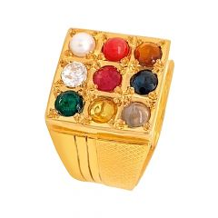 Classical Textured Navratna Gemstone Gold Ring For Him