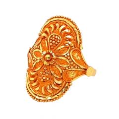 Ceremonial Textured Embossed Floral Gold Ring