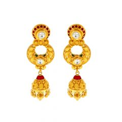 Matte Finish Chand Bali Leafy Design Studded With Multicolour Synthetic Kundan Jhumka Gold Earrings