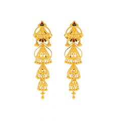 Glossy Finish Filigree Leafy Multi Colour Enamel Jhumka Design Gold Earrings