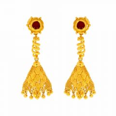 Filigree Design With Spiral Linked Jhumka Earrings With Center Ruby
